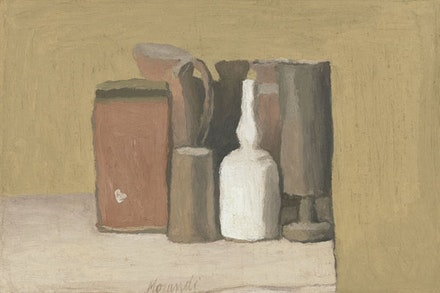 Giorgio Morandi, <em>Natura morta (Still Life)</em>, 1949. Oil on canvas, 12 x 17 15/16 inches. 19 3/16 x 25 3/16 x 2 3/8 inches (framed). © 2015 Artists Rights Society (ARS), New York/SIAE, Rome.