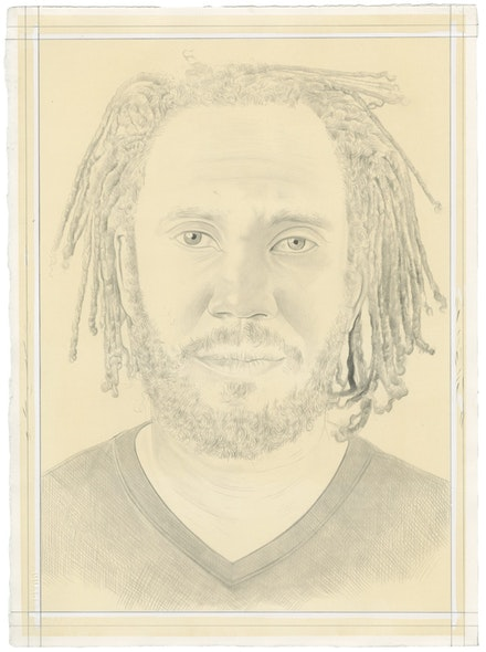 Portrait of Rashid Johnson by Phong Bui. Pencil on paper. From a photo by Taylor Dafoe.