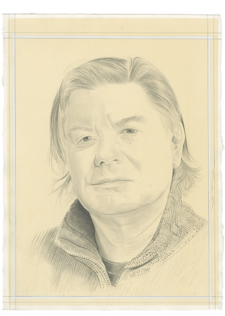 Portrait of Joseph Nechvatal by Phong Bui. Pencil on paper. From a photo by Zack Garlitos.