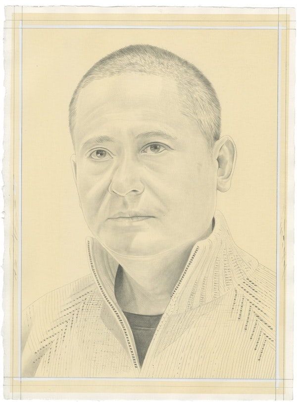 Portrait of Zeng Fanzhi by Phong Bui. Pencil on paper. From a photo by Anthony Batista.