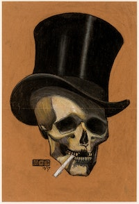 M. C. Escher, <em>Skull with Cigarette</em>, 1917. Pencil, black and colored chalks on brown paper, 30 1/3 x 24 1/4 inches. Collection of Dr. Stephen R. Turner, © 2015 The M. C. Escher Company, The Netherlands. All rights reserved.