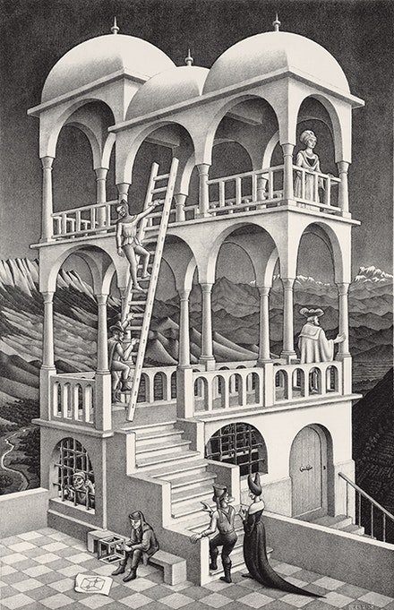 M. C. Escher, <em>Belvedere</em>, 1958. Lithograph, 18 1/4 x 11 5/8 inches. National Gallery of Art, Washington, Rosenwald Collection, 1964, © 2015 The M. C. Escher Company, The Netherlands. All rights reserved.