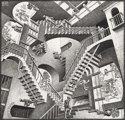 M. C. Escher, <em>Relativity</em>, 1953. Lithograph, 10 7/8 x 11 1/2 inches. Private collection, Texas, &copy; 2015 The M. C. Escher Company, The Netherlands. All rights reserved.