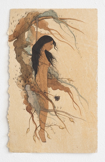 Hiba Schabaz, <em>Untitled (Work In Tea)</em>, 2015. Tea and watercolour on earth stained paper, 7 x 11 inches. Courtesy the artist.