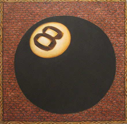 Martin Wong, <em>Tell My Troubles to the Eight Ball</em>, 1978. Acrylic on canvas, 36 x 36 inches. Collection of KAWS, New York. Courtesy the Bronx Museum of the Arts.