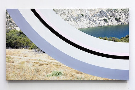 James Hyde, <em>TRACK</em>, 2015. Acrylic dispersion on archival inkjet print mounted on linen and board, 22.25 x 38 inches. Courtesy Luis De Jesus Gallery.