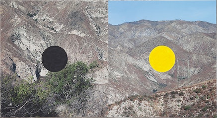 James Hyde, <em>LOCATIONS</em>, 2014. Acrylic dispersion on archival inkjet print mounted on linen and board, 43 x 80 inches. Courtesy Luis De Jesus Gallery.