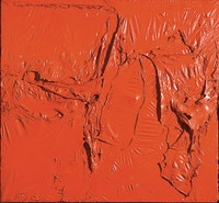 Alberto Burri, <i>Rosso plastica (Red Plastic)</i>, 1961. Plastic (PVC), acrylic, and combustion on plastic (PE) and black fabric, 142 x 153 cm. © Fondazione Palazzo Albizzini Collezione Burri, Città di Castello/2015 Artist Rights Society (ARS), New York/SIAE, Rome. Photo: Massimo Napoli, Rome, courtesy Modern Art Foundation.