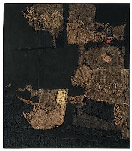 Alberto Burri, <i>Sacco e oro (Sack and Gold)</i>, 1953. Burlap, thread, acrylic, gold leaf, and PVA on black fabric, 102.9 x 89.4 cm. © Fondazione Palazzo Albizzini, Collezione Burri, Città di Castello/2015 Artist Rights Society (ARS), New York/SIAE, Rome.