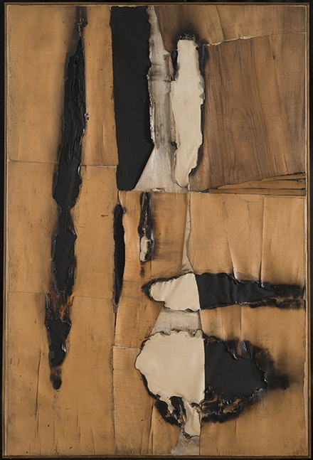 Alberto Burri, <i>Combustione legno (Wood Combustion)</i>, 1957. Wood veneer, paper, combustion, acrylic, and Vinavil on canvas, 149.5 x 99 cm. © Fondazione Palazzo Albizzini Collezione Burri, Città di Castello/2015 Artist Rights Society (ARS), New York/SIAE, Rome.
