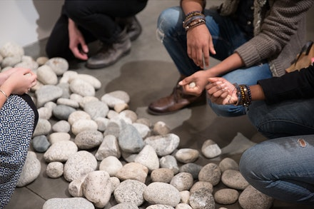 Installation view: Yoko Ono, <em>Stone Piece</em>, 2015/2016. Local riverbed rocks. Dimensions variable. Courtesy Andrea Rosen Gallery, New York. (C) Yoko Ono. Photo: Pierre Le Hors