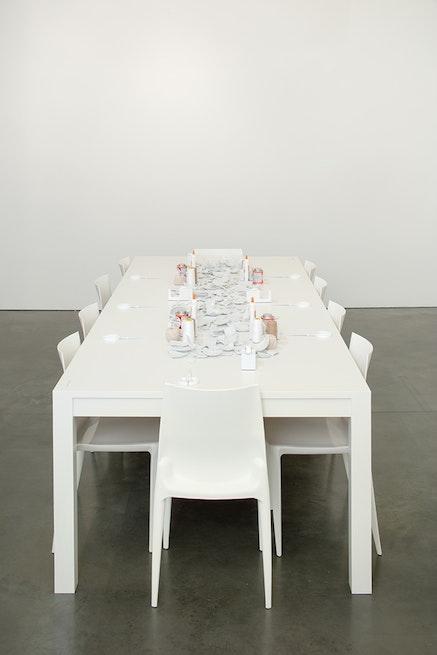 Yoko Ono, <em>Mend Piece</em>, 1966/2015. Ceramic, glue, tape, scissors, and twine. Dimensions variable. Courtesy Andrea Rosen Gallery, New York. (c) Yoko Ono. Photo: Pierre Le Hors.