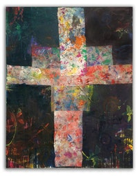 Ford Crull, <i>Crossroads</i>, 2014. Oil, enamel, cotton, on canvas, 40 x 30 inches. Courtesy the artist.
