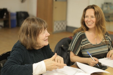 Marylouise Burke and Clove Galilee working on <em>Imagining the Imaginary Invalid</em>, 2015. Photo: Yasmeen Jawhar.