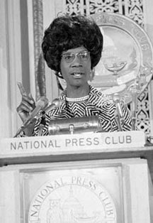 <i>Shirley Chisholm addressing the National Press Club in Washington on April 20, 1972. Photo from Bettmann/CORBIS.</i>