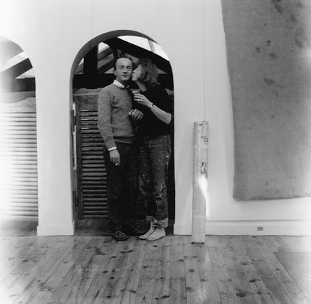 Frank O'Hara and Joan Mitchell in her rue Frémicourt studio, Paris, ca. 1961. Photographer unknown.
