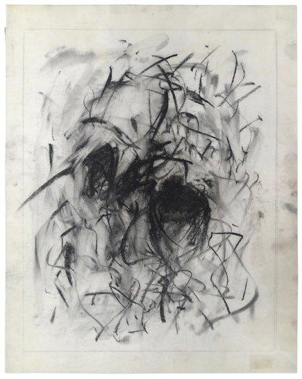 <em>Untitled</em>, 1967. Charcoal on acetate, 14 x 11 inches. © Estate of Joan Mitchell. Joan Mitchell Foundation Archives