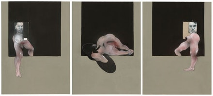Francis Bacon, <em>Triptych</em>, 1991. Oil on canvas, three panels, each panel 78 × 58 1/8 inches. © The Estate of Francis Bacon. All rights reserved. / DACS, London / ARS, NY 2015. Digital Image © The Museum of Modern Art/Licensed by SCALA / Art Resource, NY. Courtesy Gagosian Gallery. Photo: Thomas Griesel.