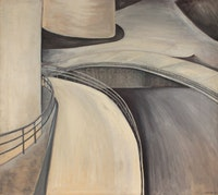 Dorothy Cantor, <em>Curvements</em>, 1953. Oil on canvas, 37 × 41 1/4 inches. Courtesy Betty Cuningham Gallery.