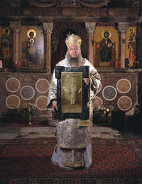 Irwin, <em>Was ist Kunst Hugo Ball</em> (Bishop Metodij Zlatanov, Metropolit of Macedonian orthodox church, with Hugo Ball), 2008 / 2010. Courtesy Galerija Gregor Podnar, Berlin.