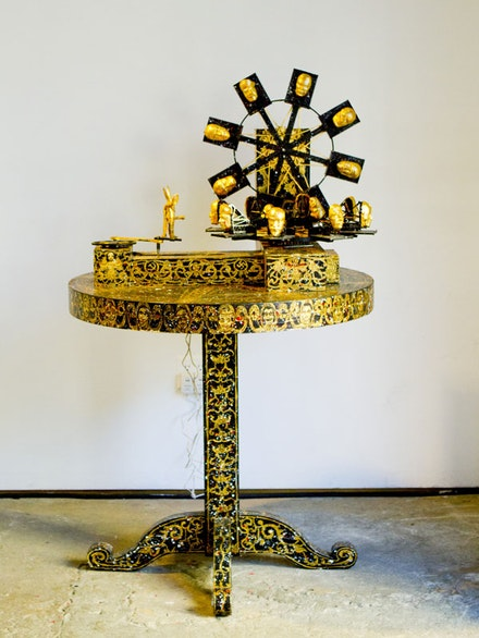 Federico Solmi, <em>Pope's Fucking Machine after Leonardo</em>, 2015. Kinetic Machine made from recycled street found materials and antique table.