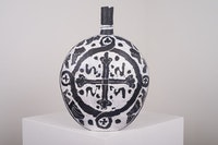 Elisabeth Kley, <em>Large Black & White Flask with Seraphim & Cross</em>, 2015. Glazed earthenware, 22   × 22 × 9 inches. Courtesy Canada Gallery.