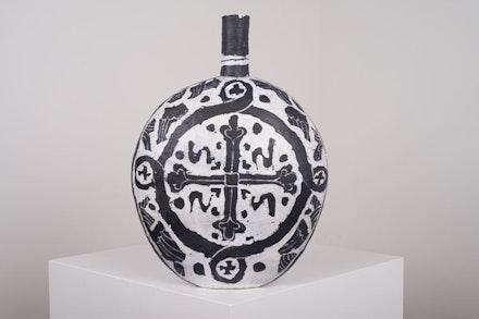 Elisabeth Kley, <em>Large Black & White Flask with Seraphim & Cross</em>, 2015. Glazed earthenware, 22   × 22 × 9 inches. Courtesy Canada Gallery.