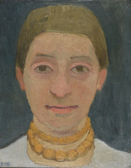 Paula Modersohn-Becker, <em>Portrait of the Artist's Sister Herma with Amber Necklace</em>, ca, 1905. Oil on canvas. Private collection; courtesy Galerie St. Etienne, New York.
