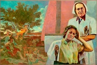 Ilya and Emilia Kabakov,  <em>The Two Times</em>, 2014. Oil on canvas, 75 × 112 inches. © Ilya & Emilia Kabakov.
