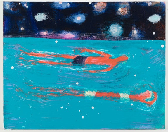 Katherine Bradford, Floaters, 2015. Acrylic on canvas. 22 × 28 inches. Courtesy CANADA Gallery.