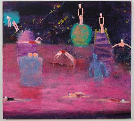 Katherine Bradford, <i>Swim Team Miami</i>, 2015. Acrylic on canvas, 44 x 48 inches (111.76 x 121.92 cm). Courtesy the artist and Canada Gallery.