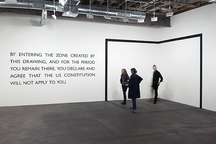 Installation view at Midway Contemporary Art, Minneapolis, Carey Young, <em>Declared Void</em>, 2005. Vinyl drawing and text/dimensions variable. (c) Carey Young. Courtesy Paula Cooper Gallery, New York.