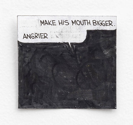 Tony Lewis, <i>Make His Mouth Bigger, Angrier</i>, 2015. Graphite powder and correction tape on paper, 2 3/4 x 2 3/8 inches. Courtesy Shane Campbell Gallery, Chicago.