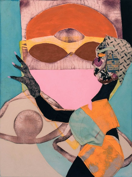 Tschabalala Self, <i>Bodega Run</i>, 2015. Oil, pigment and flasche on canvas 44 x 30 inches. Courtesy Thierry Goldberg Gallery, New York.