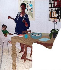 Billie Zangewa, <i>Mother and Child</i>, 2015. Silk tapestry, 51 x 54 inches. Courtesy Afronova Gallery, Johannesburg, South Africa. Courtesy the artist.