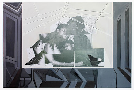 Kandis William, <i>paralysis II</i>, 2014. Mixed media on canvas, 48 x 72 inches. Courtesy the artist and Night Gallery, Los Angeles.