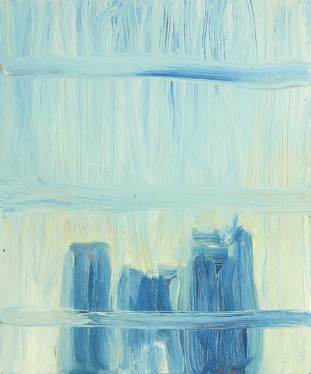 Martha Diamond, <i>Blue Wash</i>, 2011 – 2014. Oil on panel, 12 x 10 inches. Courtesy Alexandre Gallery, New York.