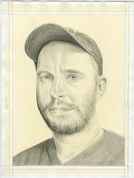 Portrait of the artist. Pencil on paper by Phong Bui. From a photo by Zack Garlitos