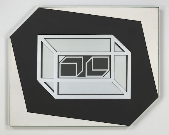 Larry Bell, <em>Untitled 1962</em>, 1962. Mirrored glass, acrylic on canvas. 53 x 66 x 3 inches. Courtesy the artist and Hauser & Wirth. Photo: Genevieve Hanson.