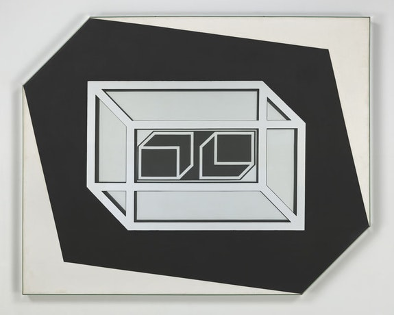 Larry Bell, <em>Untitled 1962</em>, 1962. Mirrored glass, acrylic on canvas. 53 x 66 x 3 inches. Courtesy the artist and Hauser &amp; Wirth. Photo: Genevieve Hanson.