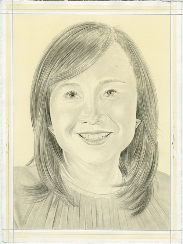 Portrait of Joan Kee. Pencil on paper by Phong Bui. From a photo by Sally Bjork.