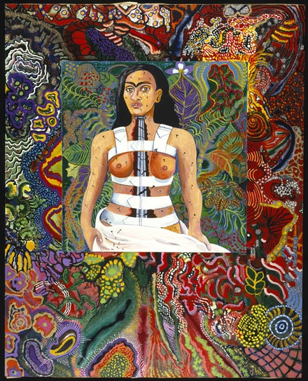 Miriam Schapiro, <em>Agony in the Garden</em>, 1991. Acrylic on canvas with glitter, 90 3/16 × 72 3/16 × 2 inches. © Miriam Schapiro. Courtesy the Brooklyn Museum.