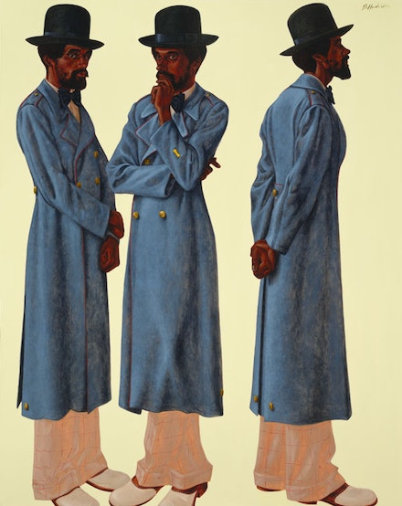 Barkley L. Hendricks, <em>Bahsir (Robert Gowens)</em>, 1975. Oil and acrylic on canvas, 83 1/2 × 66 inches. Courtesy the artist and Jack Shainman Gallery.