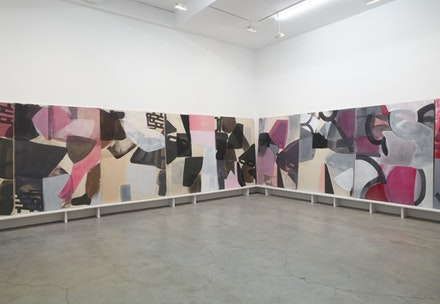 Amy Sillman, <em>Panorama</em>, 2015. Acrylic, gouache, and ink on inkjet-printed canvas, painted wood base; canvases: 79×59 inches each. Courtesy Sikkema Jenkins & Co.