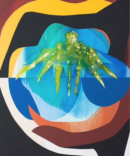 Carrie Moyer, <em>The Green Lantern</em>, 2015. Acrylic and glitter on canvas, 72 x 60 inches. Courtesy the artist and DC Moore Gallery, New York, NY.