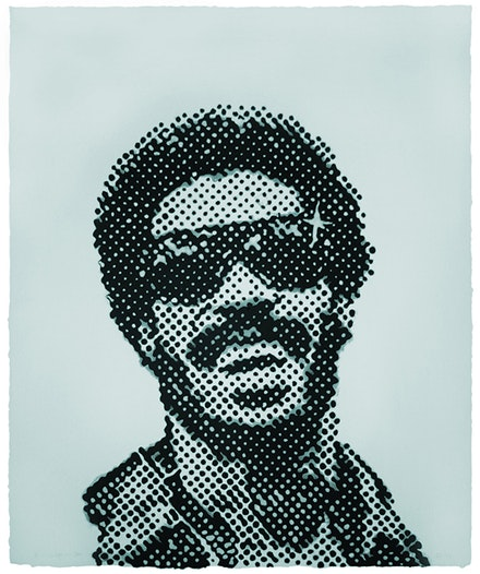 Glenn Ligon, <em>Self-Portrait at Eleven Years Old</em>, 2004. Cotton base sheet with stenciled linen pulp painting. Courtesy of the artist and Dieu Donne, New York.