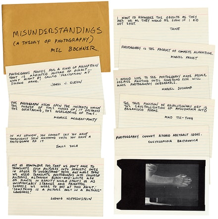 Mel Bochner, <em>Misunderstandings (A Theory of Photography)</em>, 1967-70. Ten offset cards and envelope. © Mel Bochner. Courtesy the artist.