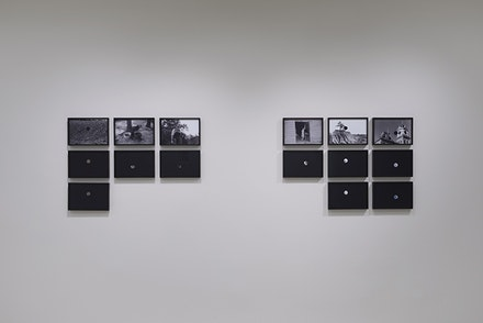 Lisa Oppenheim, <em>Killed Negatives: After Walker Evans</em>, 2007-09. Fifteen chromogenic prints, 10 x 13 inches. Courtesy the artist and The Approach, London. &copy; Lisa Oppenheim. Photo: Owen Conway.