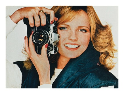 Anne Collier, <em>Woman With a Camera (Cheryl Tiegs/Olympus 1)</em>, 2008. Chromogenic print, 31 3/4 x 42 1/2 inches. &copy; Anne Collier. Courtesy of the artist; Anton Kern Gallery, New York; Corvi-Mora, London; Marc Foxx, Los Angeles; The Modern Institute/ Toby Webster Ltd., Glasgow.