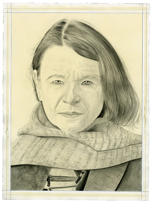 Portrait of Anne Waldman. Pencil on paper by Phong Bui. From a photo by Taylor Dafoe.